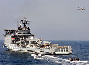 RFA Diligence acting as a target ship during a boarding exercise in 2011