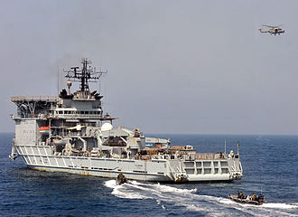 RFA Diligence (A132) - RFA Diligence acting as a target ship during a boarding exercise in 2011