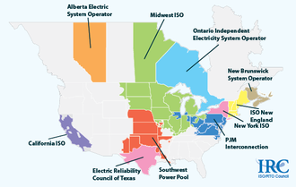 PJM Interconnection - Regional transmission organizations of North America. The PJM Interconnection is in dark blue.