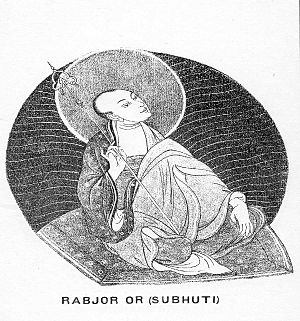 Subhuti - A Tibetan illustration of Subhūti, where he is known as Rabjor.