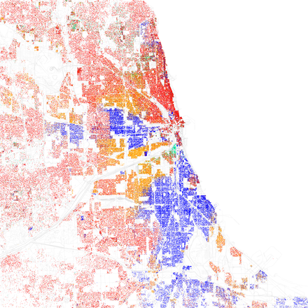 Map of racial distribution in Chicago, 2010 U.S. Census. Each dot is 25 people: White, Black, Asian, Hispanic or Other (yellow) Race and ethnicity 2010- Chicago (5560488484).png
