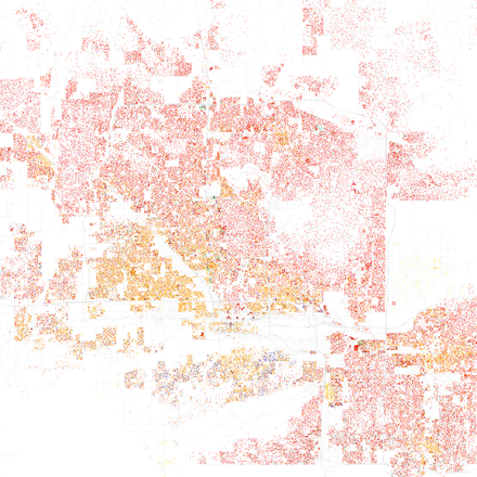 Map of racial distribution in Phoenix, 2010 U.S. Census. Each dot is 25 people: White, Black, Asian Hispanic, or Other (yellow) Race and ethnicity 2010- Phoenix (5560484318).png
