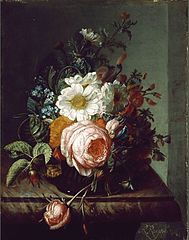 Flower bouquet on a marble table