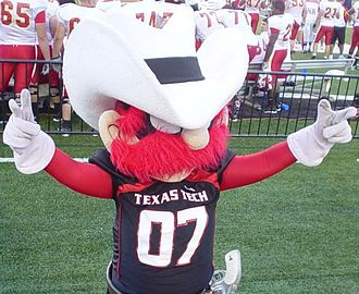 Texas Tech Red Raiders football - Raider Red displaying the Guns up hand gesture