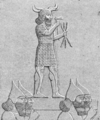 Assyrian soldiers of Ashurbanipal carrying a statue of Adad