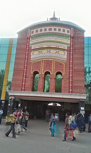 Rampurhat Junction railway station - The front gate built as a eminent temple Tarapith