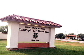 Randolph Air Force Base - Randolph Air Force Base sign and main gate during the mid-1990s.
