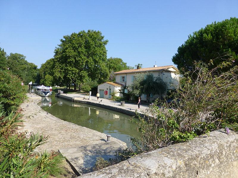 Raonel Lock on the Canal de la Robine south of Cuxac d'Aude