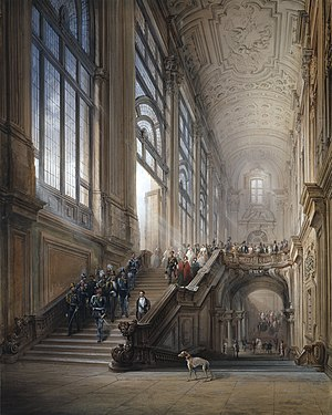 "Carlo Bossoli - King Victor Emanuel II and Camillo Cavour at the opening of the ""Senato Subalpino"". (1853)"