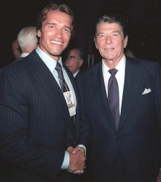 The Terminator - Schwarzenegger with President Ronald Reagan two months before The Terminators premiere in 1984.