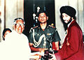 Receiving the Arjuna award 1990 from President Venkataraman.jpg