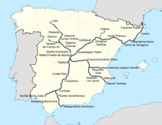 Mapa Recorrido Ave Barcelona Sevilla.Alta Velocidad Ferroviaria En Espana Wikipedia Republished Wiki 2