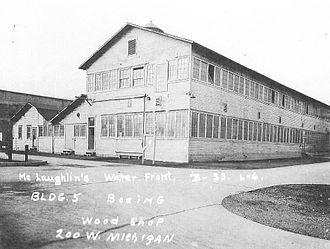 Boeing Plant 1 - The Boeing Red Barn taken in 1937.