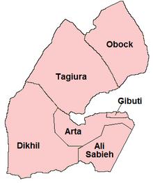 Le regioni di Gibuti.