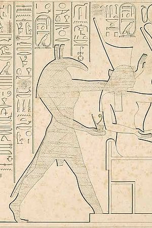 Set (deity) - Set on a late New Kingdom relief from Karnak: his figure was erased during his demonization.