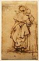 Rembrandt - Schets van een vrouw die een kind vasthoudt.jpg
