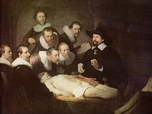 Cadaver - The anatomy lesson of Dr. Nicolaes Tulp by Rembrandt shows an anatomy lesson taking place in Amsterdam in 1632.