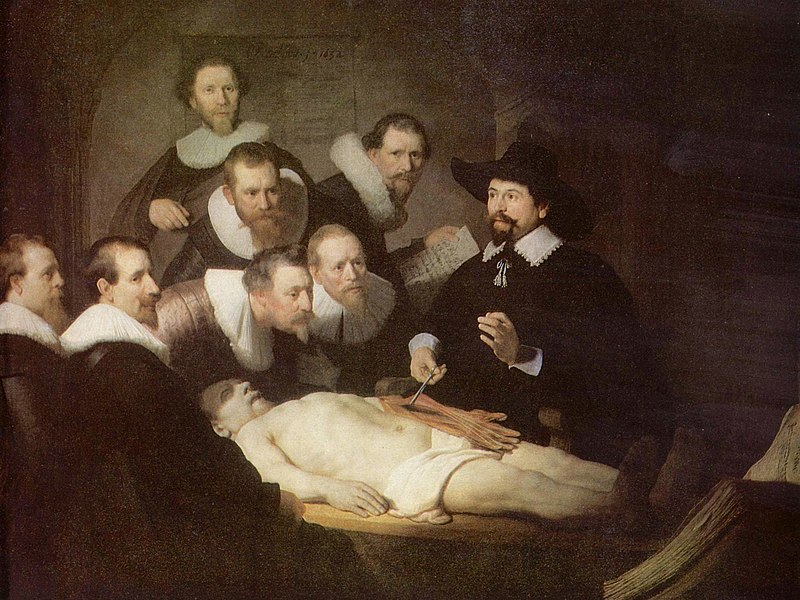 "Rembrandt's ""The Anatomy Lecture of Dr. Nicolaes Tulp"". Shows many medieval students gathered around Dr. Nicolaes Tulp, observing his dissection of a human body"