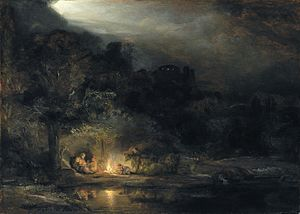 Rest on the Flight into Egypt - Rembrandt's only nightscape, 1647, National Gallery of Ireland