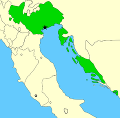 Republikken Venedig 1796.   De joniske øer, som tilhørte Venedig, vises ikke på kortet.