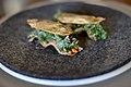 Restaurant Noma Toast med emulsion af røget rogn fra kammuslinger, friske urter, eddikestøv og tørret andesky (4959764378).jpg