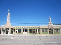 Historic U-Drop Inn, a Conoco fuel station restoration in Art Deco style along U.S. Route 66 in Shamrock