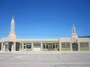 Shamrock, Texas - Historic U-Drop Inn, a Conoco fuel station restoration in Art Deco style along U.S. Route 66 in Shamrock