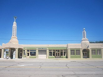 Shamrock, Texas - Historic U-Drop Inn, a Conoco fuel station restoration in Art Deco style along U.S. Route 66 in Shamrock
