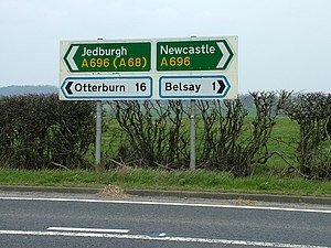 Control city - Jedburgh and Newcastle are primary destinations on the A696.