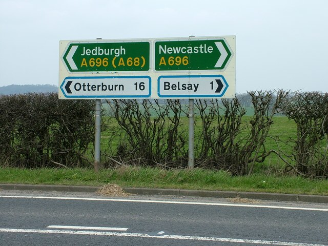 Road signs at the B6309, A696 junction - geograph.org.uk - 156841