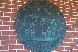 Seal of Georgia (U.S. state) - A large metallic representation of the Seal, as seen at a rest area along Interstate 20 in Georgia.