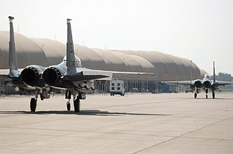 Seymour Johnson Air Force Base - F-15 Eagles of the 336th Fighter Squadron on the taxiway at Seymour Johnson AFB