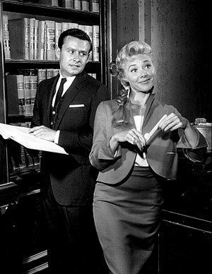 Harrigan and Son - Roger Perry as James Harrigan Jr. and Georgine Darcy as Harrigan Sr.'s secretary, Gypsy.