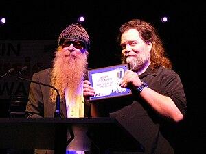 Roky Erickson - Roky Erickson receiving a lifetime achievement award from Billy Gibbons at the Austin Music Awards (2008).