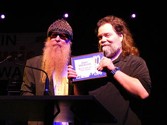 Roky Erickson - Roky Erickson receiving a lifetime achievement award from Billy Gibbons at the Austin Music Awards (2008).
