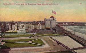 Traymore Hotel - A postcard depicting the Traymore Hotel, c. 1910. Brighton Park is visible in the foreground.