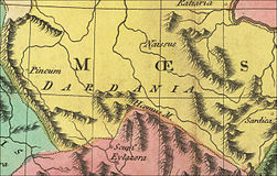 Roman Dardania part of Moesia Superior part of old map made 1820.jpg