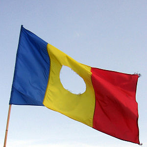 History of Romania since 1989 - Romanian flag with a hole in the center, as used in 1989; photo made during an anti-government demonstration in Bucharest in September 2006