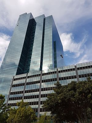 Window cleaner - Rope access window cleaning of Portside Tower in Cape Town.