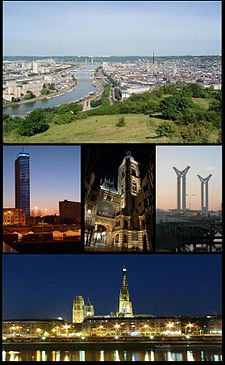 Top: Downtown Rouen and theسئن چایی. Middle left:Maritime museum. Centre:Le Gros-Horloge. Middle right:Gustave-Flaubert Bridge. Bottom:Rouen Cathedral.