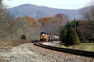 A CSX freight train passes through Pence Springs in 2007.