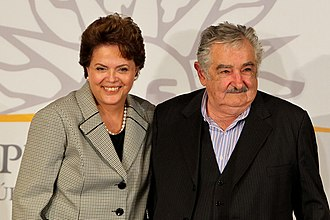 Brazil–Uruguay relations - The former President of Brazil, Dilma Rousseff, and the former President of Uruguay, José Mujica, during Rousseff's state visit to Montevideo.