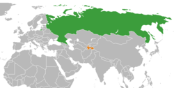 Map indicating locations of Russia and Tajikistan