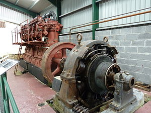 Moorside Edge transmitting station - One of the four Ruston generating sets originally installed at Moorside Edge, now preserved at the Internal Fire Museum of Power