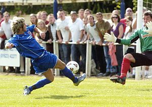 Scarborough Athletic F.C. - David Thompson scoring Scarborough Athletic's first ever league goal at Teversal on 11 August 2007
