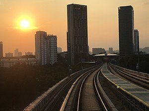 SBK Line Taman Tun Dr Ismail Station Evening View From Tracks 3