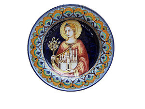 Saint Fina - Representation of Saint Fina on a ceramic dish
