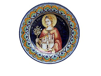 Saint Fina - Representation of Saint Fina on a ceramic dish