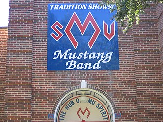Southern Methodist University Mustang Band - Entrance to SMU Mustang Band hall, located beneath Perkins Natatorium