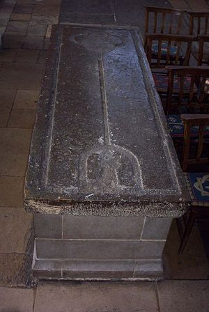Adam de Brome - Adam de Brome's tomb in the St Mary the Virgin, the 14th century slab rests on a modern chest.